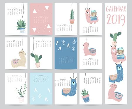 Joli calendrier mensuel 2019 avec lama, bagages, cactus, géométrique pour les enfants.Peut être utilisé pour le web, bannière, affiche, étiquette et imprimable Banque d'images - 102651618