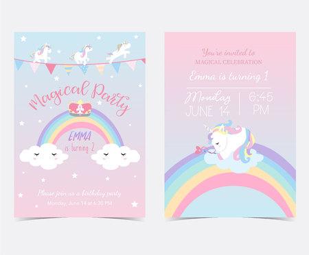 Dibujado a mano tarjeta azul rosa y etiqueta con unicornio de sueño, bandera, arco iris, nube, estrella y corona