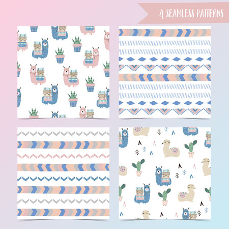 Geometric seamless pattern in boho style with llama and cactus Illustration