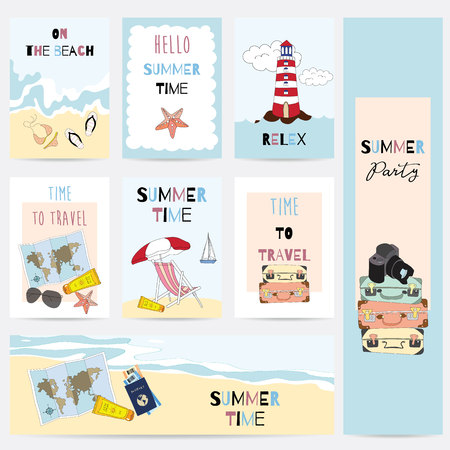 Travel greeting card with sea,sky,ship,star fish,beach,glasses,map,sun glasses,luggage and camara