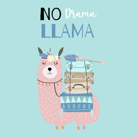 Hand drawn cute card with llama,arrow,wreath,luggage.No drama