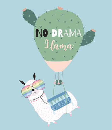 Blue green hand drawn cute card with llama, glasses,cactus balloon in summer.No drama llama