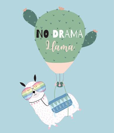 Niebiesko-zielona ręcznie rysowane śliczna karta z lamą, okularami, balonem z kaktusem w lecie Ilustracje wektorowe