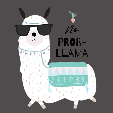 Black green hand drawn cute card with llama, glasses,cactus in summer.No prob llama Illustration