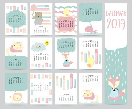 Cute monthly calendar 2019 with bear,cat,fox,whale,cat and lion for children.Can be used for web,banner,poster,label and printable Zdjęcie Seryjne - 104585320