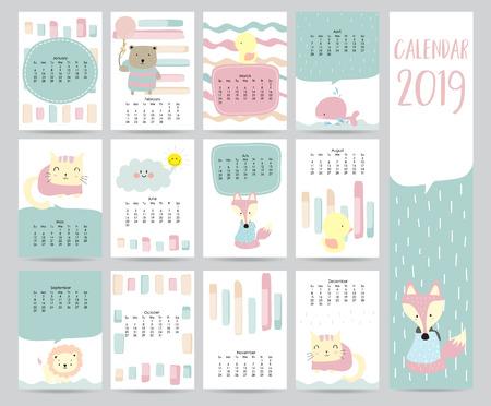 Netter Monatskalender 2019 mit Bär, Katze, Fuchs, Wal, Katze und Löwe für Kinder. Kann für Web, Banner, Plakat, Etikett und zum Ausdrucken verwendet werden