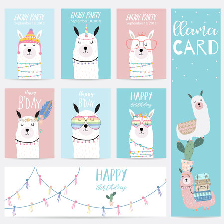 Blue pink hand drawn cute card with llama,glasses and hat Illustration