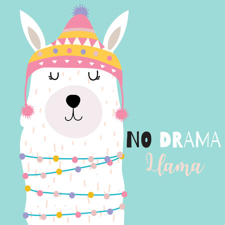 Blue green hand drawn cute card with llama and hat.No drama llama