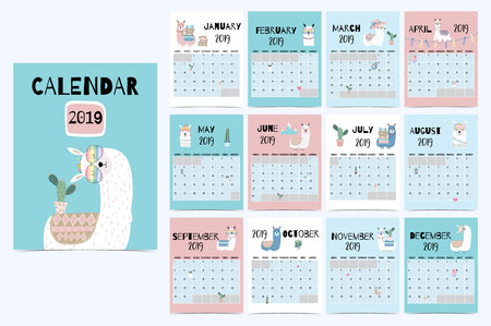 Cute monthly calendar 2019 with llama,luggage,cactus,geometrical,glasses,heart for children.Can be used for web,banner,poster,label and printable Archivio Fotografico - 110508928