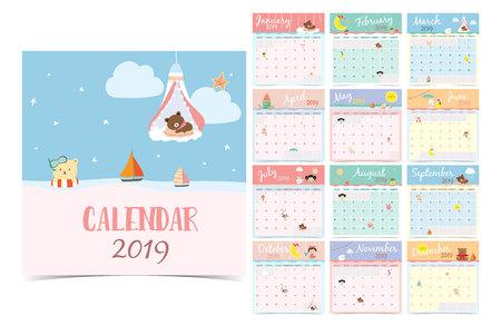 Simpatico calendario mensile 2019 con orso, ragazza, coniglio, scimmia, pecora, stella, nuvola, luna e palloncino. Può essere utilizzato per web, banner, poster, etichette e stampabile