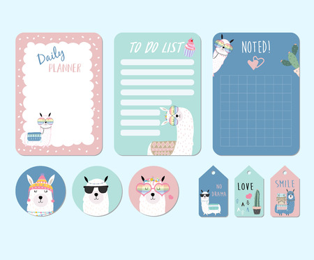 Printable and sticker with llama,alpaca,cactus,glasses,cake,heart in funny style. with wording llama not drama