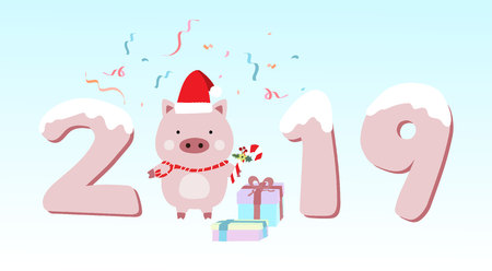 Happy new year greeting card with pig,ribbon and pig