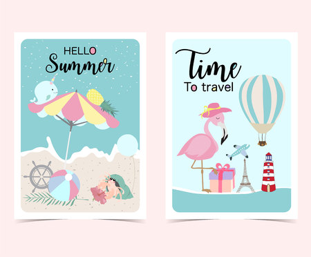 Travel greeting card with beach umbrella,airplane,flamingo,flower,narwhal,pineapple,balloon,gift,sea and ball