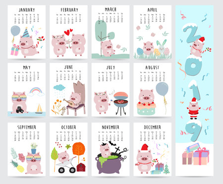 Cute monthly calendar 2019 with pig,cake,barbecue,glasses,heart,balloon,gift for children.Can be used for web,banner,poster,label and printable 免版税图像 - 110271921