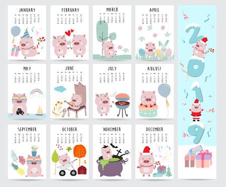 Lindo calendario mensual 2019 con cerdo, pastel, barbacoa, vasos, corazón, globo, regalo para niños.Puede usarse para web, pancarta, póster, etiqueta e imprimible. Ilustración de vector