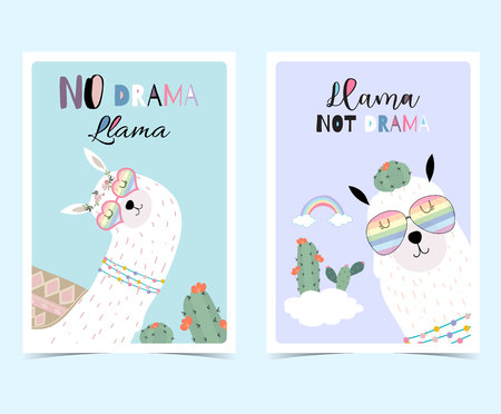 Blue violet hand drawn cute card with llama, glasses,cactus in summer.No drama llama, Llama not drama