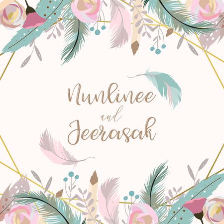 Carta di invito matrimonio oro geometria con fiore, foglia, nastro, ghirlanda, piuma e cornice su sfondo bianco