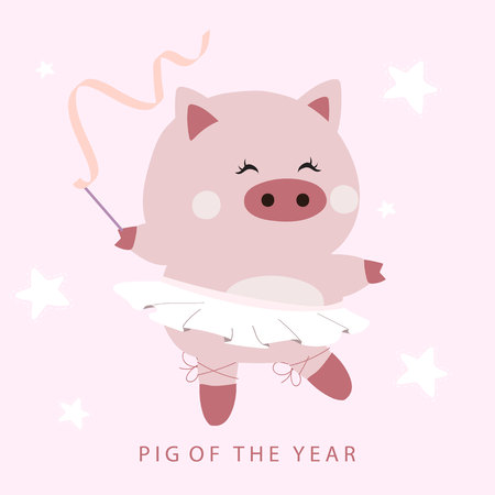 Pastel pink hand drawn cute card with dancing pig,ballet shoes and ribbon.Pig of the year 2019