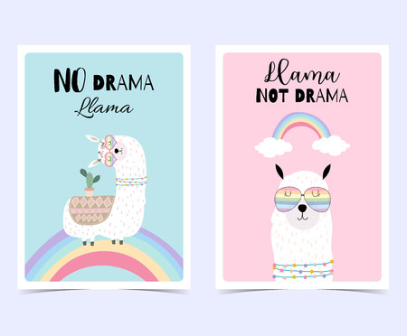 Blue pink hand drawn cute card with llama, glasses,cactus and rainbow in summer.No drama llama, Llama not drama Illusztráció