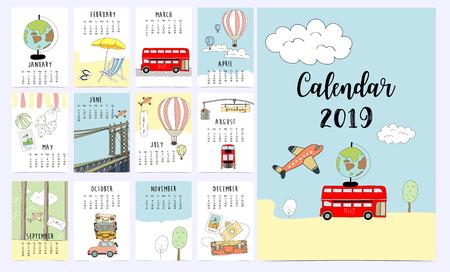 Travel monthly calendar 2019 with van,sun,suitcase,sea,beach,watermelon,ice cream,rainbow glasses,cactus and flamingo 向量圖像