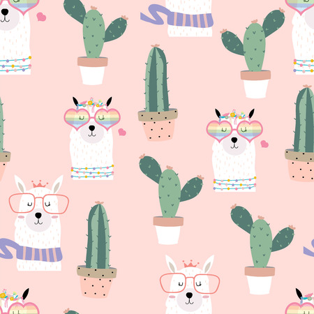 Pink hand drawn cute seamless pattern with llama,heart glasses,cactus in summer Illustration