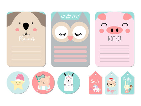 Pastel printable with bear,owl,pig,star,tiger,rabbit,unicorn in funny style.with wording thank you, birthday, party Vetores