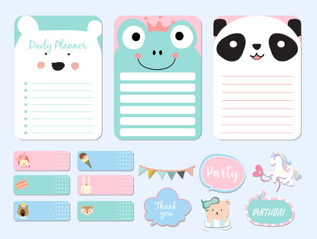 Pastel printable with bear, panda, fox, unicorn, ice cream in funny style.with wording thank you, birthday, party