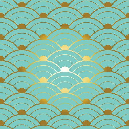 Groen gouden chiness naadloos patroon met gradiëntontwerp