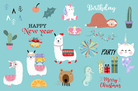Blue hand drawn cute card with unicorn,sea horse,cactus, bear,sloth,gift and firework.Happy new year.Merry Christmas