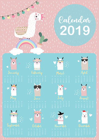 Cute monthly calendar 2019 with llama,rainbow,cactus,glasses,heart,star for children.Can be used for web,banner,poster,label and printable Illustration