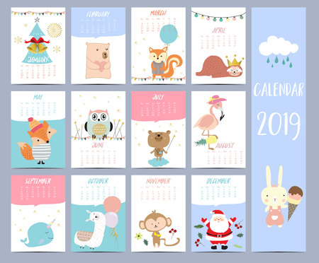 Doodle calendar set 2019 with Santa Claus;christmas tree, bear, squirrel,sloth,fox,owl,llama,monkey,rabbit,flamingo for children.Can be used for printable graphic