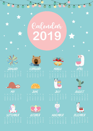 Cute monthly calendar 2019 with llama,firework,cactus,caticorn,bear for children.Can be used for web,banner,poster,label and printable Ilustração