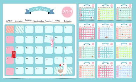 Cute monthly calendar 2019 with llama,firework,cactus,caticorn,bear for children.Can be used for web,banner,poster,label and printable