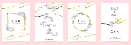 Geometry white,black,gold outline wedding invitation card with rose,leaf,wreath,feather drawing and frame Vector Illustratie