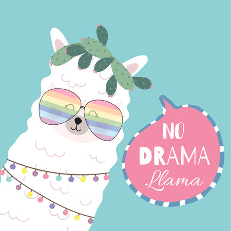 Blue pink hand drawn cute card with llama,glasses,heart.no drama llama Foto de archivo - 118654862