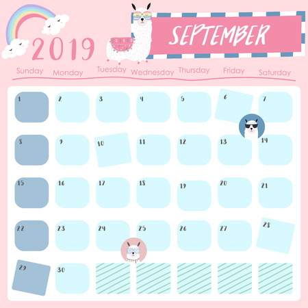 Cute monthly calendar 2019 with llama and star for children.Can be used for web,banner,poster,label and printable Ilustração