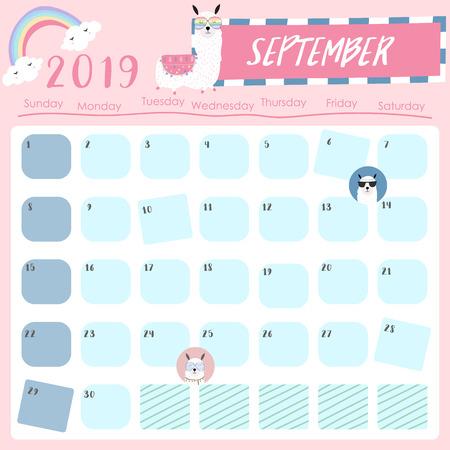 Lindo calendario mensual 2019 con llama y estrella para niños.Se puede usar para web, pancarta, póster, etiqueta e imprimible. Ilustración de vector