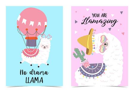 Blue pink hand drawn cute card with llama,balloon,hat,heart.No drama llama. you are llamazing