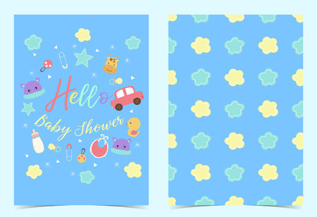 Green blue birthday invitation with pacifier,balloon,car,duck,nappy and ribbon. Hello baby shower