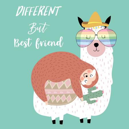 Cartolina disegnata a mano con bradipo, amico, anguria, albero, lama, letto, luna e aeroplano. Diverso ma migliore amico