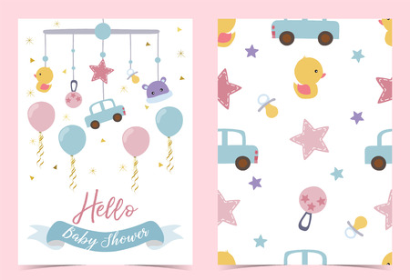 Pink blue birthday invitation with pacifier,balloon,car,duck and ribbon. Hello baby shower