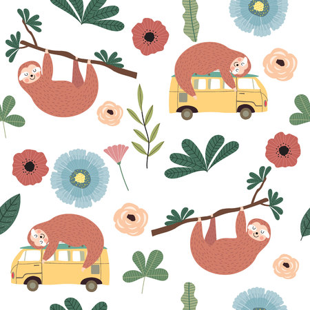 Hand drawn seamless pattern with sloth,van,flower and leaf Иллюстрация