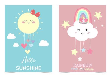 Carte mignonne dessinée à la main colorée avec arc-en-ciel, coeur, nuage, étoile, soleil. L'arc-en-ciel me rend heureux. Bonjour soleil Vecteurs