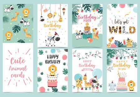 Groene verjaardagskaart met tijger, giraf, zebra, cake, blad, regenboog, licht en ballon