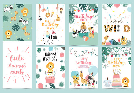 Green birthday card with tiger, giraffe, zebra,cake,leaf,rainbow,light and balloon