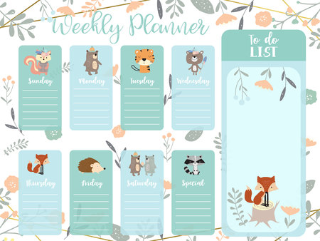 Pastel weekly planner with wild,fox,bear,tree, squirrel, tiger,flower,porcupin and tree