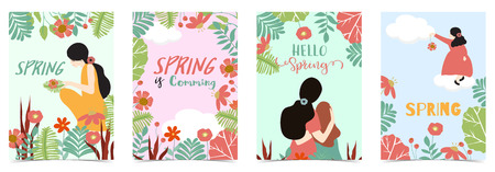Blue,pink,green hand drawn spring postcard with women,daughter,flower and leaf