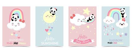 Kolorowe ręcznie rysowane słodkie karty z tęczą, sercem, chmurą, pandą i deszczem. Tęcza mnie uszczęśliwia