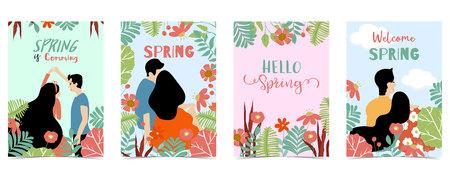 Blue,orange,green hand drawn seasonal postcard with couple,flower and leaf