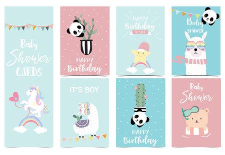pastel baby shower invitation card with unicorn,star,bear,llama and panda